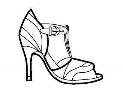 Heel Shoe Coloring Uncovered Tip Shoes Coloringcrew