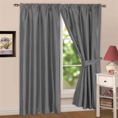 faux silk lined silver grey top curtains