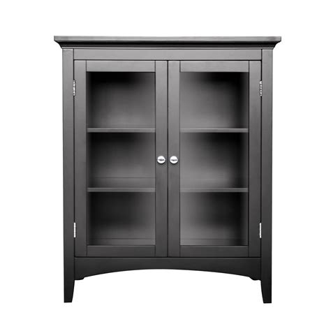 furniture black wooden bathroom floor cabinet with three