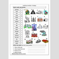 Vocabulary Matching Worksheet  Buildings  English Language, Esl, Efl, Learn English