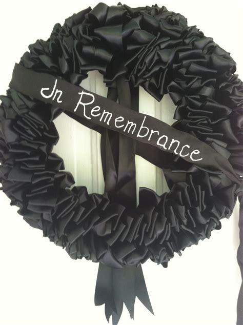 black ribbon wreath funeral mourning wreath loss grief 18 inch