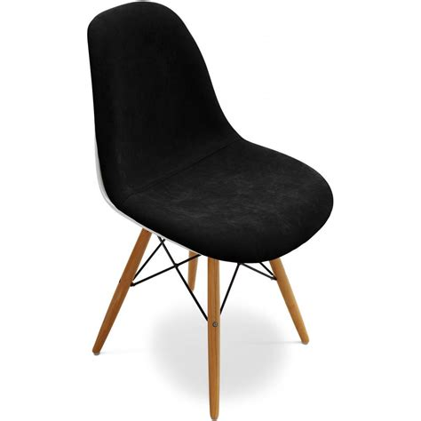 Chaise Fibre De Verre Blanc Assise Tissu Noir Inspirée Dsw