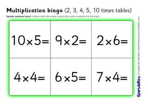 multiplication bingo      times tables