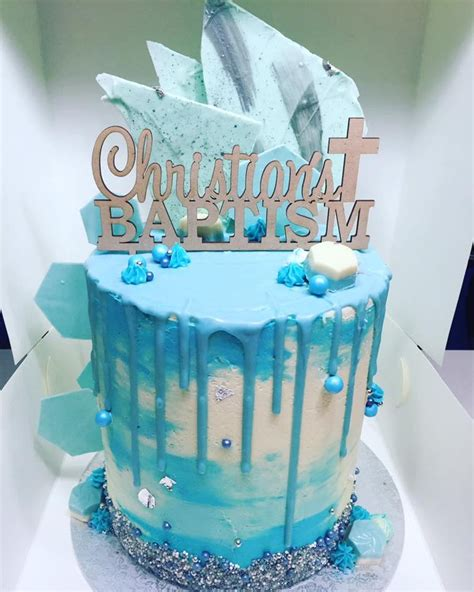 christening drip cake cakecentralcom
