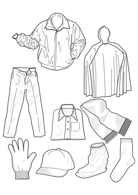 coloring cloth coloring page of winter clothes coloring home