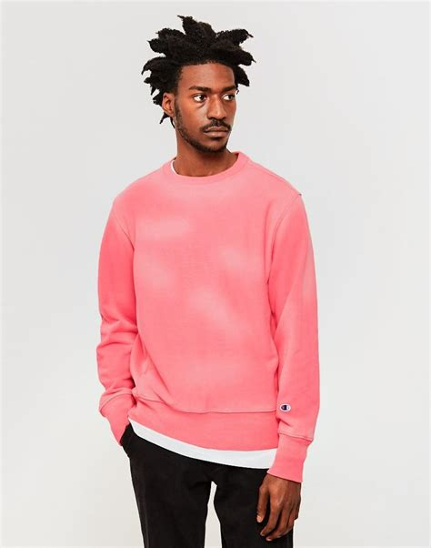 Champion Garment Dyed Classic Reverse Weave Sweatshirt Pink in Pink for Men | Lyst