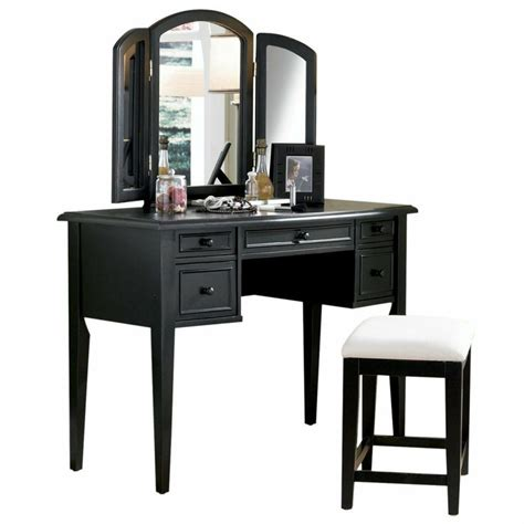 furnituremaxx com black wood vanity mirror and bench set
