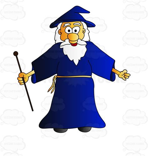 wizard holding a stick with arms wide open cartoon clipart