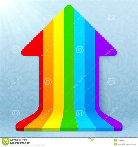 Rainbow Stripes Realistic Plastic Vector Up Arrow Stock