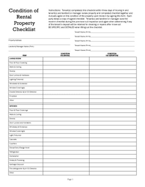 walkthrough checklist rental fill  printable