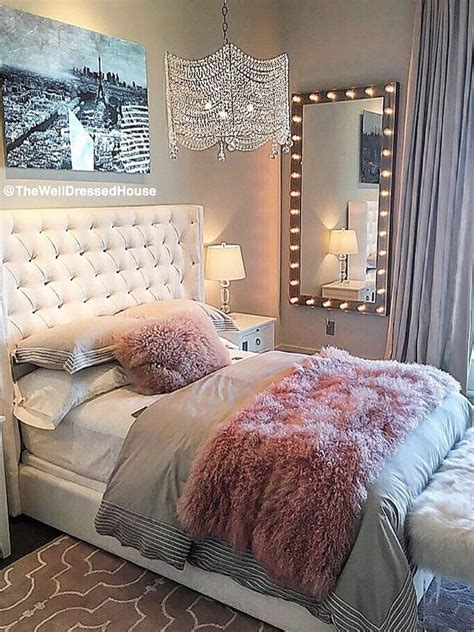 pretty pink grey style bedroom design atthewelldressedhouse