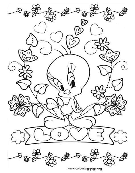 tweety tweety love coloring page