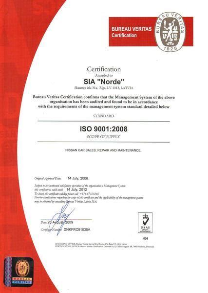 bureau veritas latvia nissan norde iso certification of quality