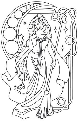 Light details form this feisty witch and her friendly familiar. Downloads as a PDF. Use pattern