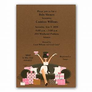 hat diva pregnant with presents pink baby invitations With baby shower invitations wedding paper divas