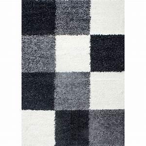Hochflor Teppich Schwarz : hochflor langflor wohnzimmer shaggy teppich kariert schwarz weiss grau ~ Markanthonyermac.com Haus und Dekorationen