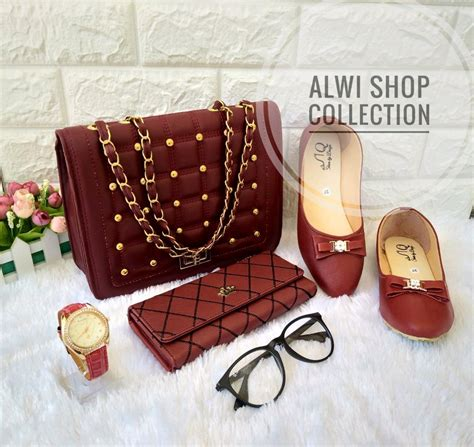 Paket Tas Dompet Wanita jual paket seserahan tas wanita dompet sepatu warna maroon
