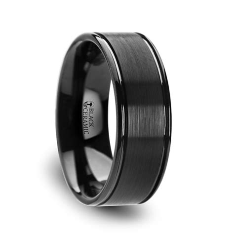 blackheart flat brushed finish center black ceramic wedding band with dual offset grooves and