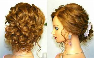 Prom wedding hairstyle, curly updo for long medium hair tutorial YouTube