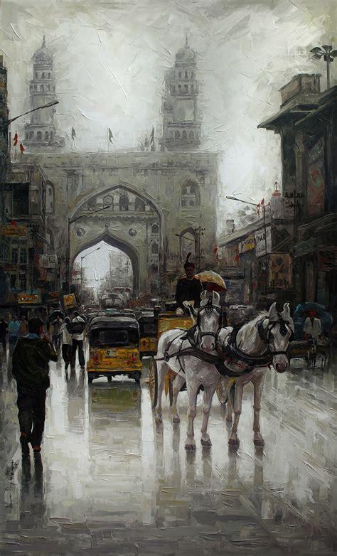 buy painting charminar wet artwork    indian