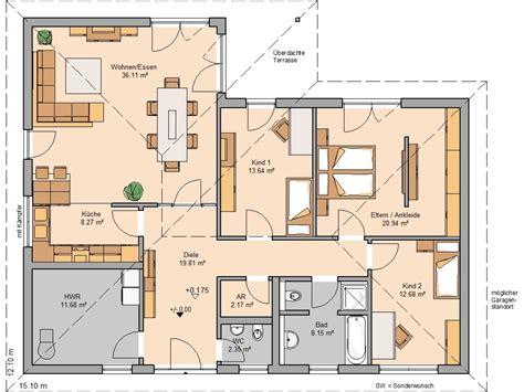Bungalow 5 Zimmer Grundriss by Grundriss Bungalow Mit Garage 5 Zimmer