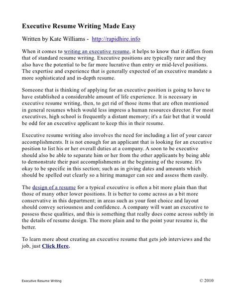 Executive Resume Writing by Executive Resume Writing Made Easy