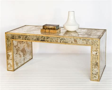 gold mirrored coffee table worlds away reverse mirror coffee table gold leaf