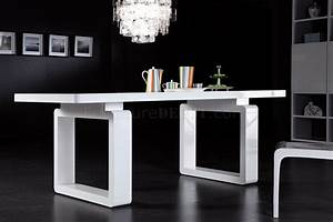 White finish modern dining table w elegant legs for Tables a manger design