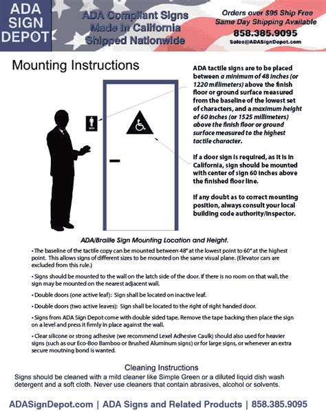 ada sign mounting hardware adhesive and instructions