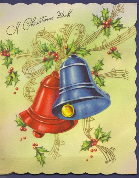 vintage christmas bells card front vintage christmas cards iii carla at home