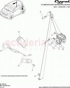 Aston Martin Cygnet Rear Seat Belt Assembly Parts