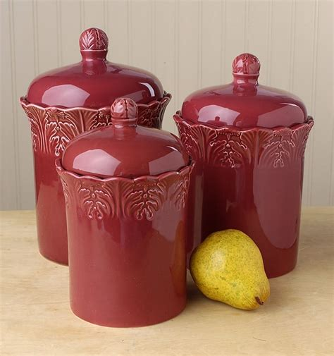 burgundy kitchen canisters antiqua burgundy canister set of 3 425030 overstock