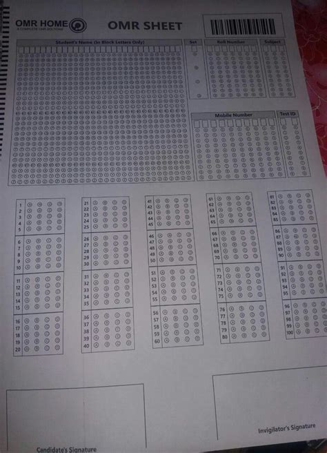 omr practice upsc questions loose sheets