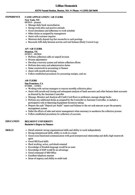 Ar Resume by Ar Clerk Resume Sles Velvet