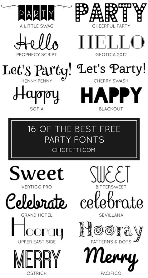 party fonts party ideas party decorations
