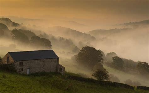 morning house field fog landscape wallpaper 1920x1200 45688 wallpaperup