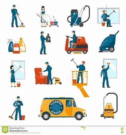 Cleaning Industrial Icons Vector Flat Service Machine