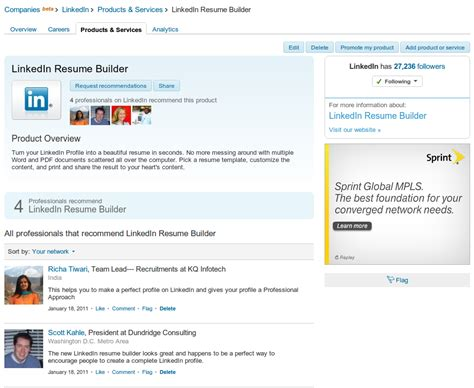 How To Look For Resumes On Linkedin by Resume Builder Resume Builder Product Page On Linkedin