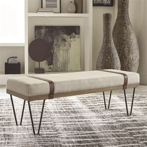 coaster  upholstered bench  hairpin legs