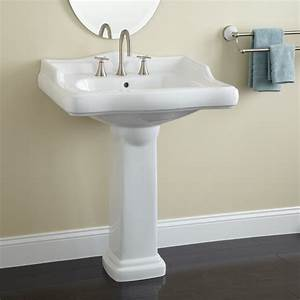 Signature Hardware Large Dawes Porcelain Pedestal Sink   eBay