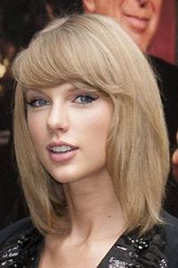 Taylor Swift Straight Ash Blonde Sideswept Bangs Hairstyle ...