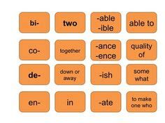 prefix suffix root word flip chart teaching vocabulary