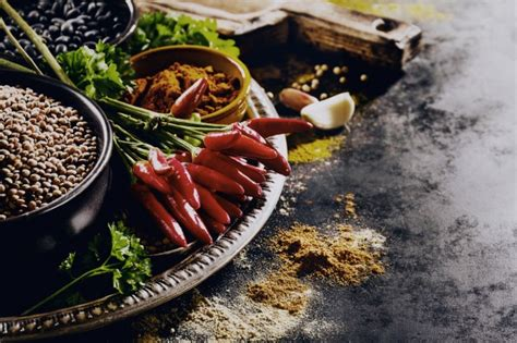 beautiful tasty appetizing ingredients spices grocery