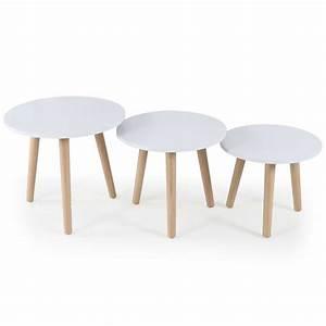 Table Basse Gigogne Scandinave : lot de 3 tables basses gigognes scandinave emil blanc ~ Voncanada.com Idées de Décoration
