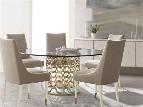 Valera 7pcs New Contemporary Dining Room Gold Round Glass