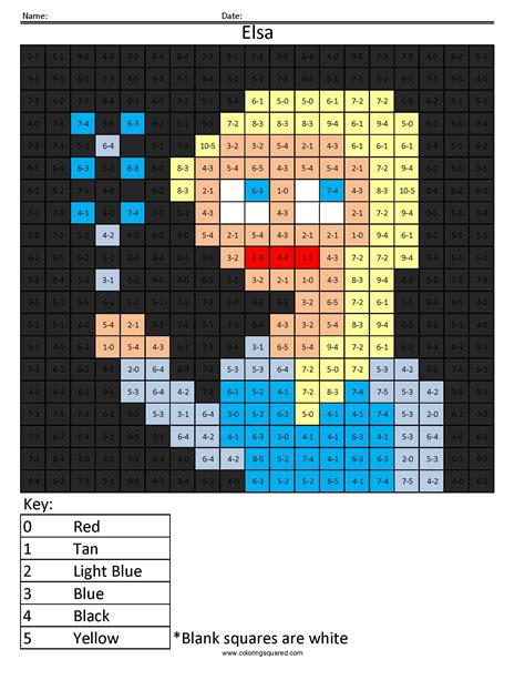 disney princess addition  subtraction coloring squared
