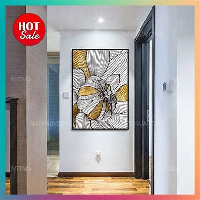 Abstract Painting Canvas Flower Extra Living Acrylic