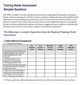 Sample training needs assessment 10 example format for Learner analysis template