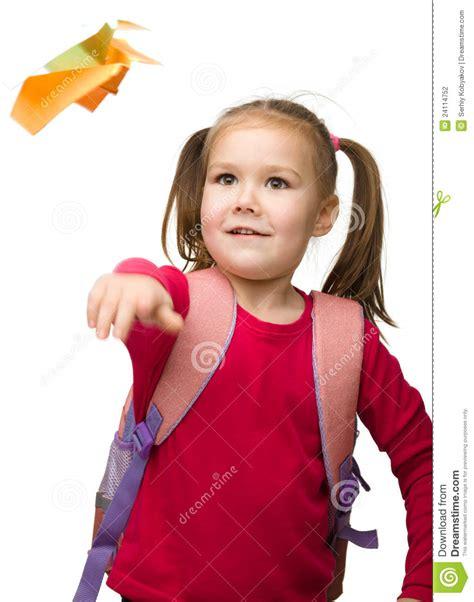 portrait   cute schoolgirl  backpack stock