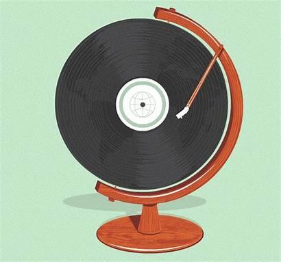 Vinyl Globe Animation Gifs Record Player Animations